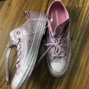 Pink Glitter Unisex Converse Sneakers W 9.5, M 7.5